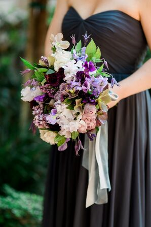 Purple Rose and Sweet Pea Bridesmaid Bouquet