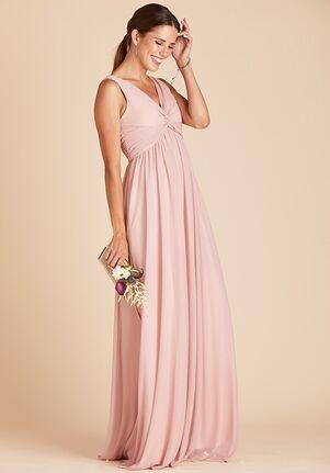 Birdy Grey Lianna Mesh Dress in Rose Quartz V-Neck Bridesmaid Dress