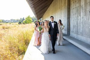 Wedding Party Walking Outside at Parish Art Museum in Water Mill, New York