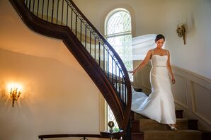 Amsale Strapless White Wedding Dress