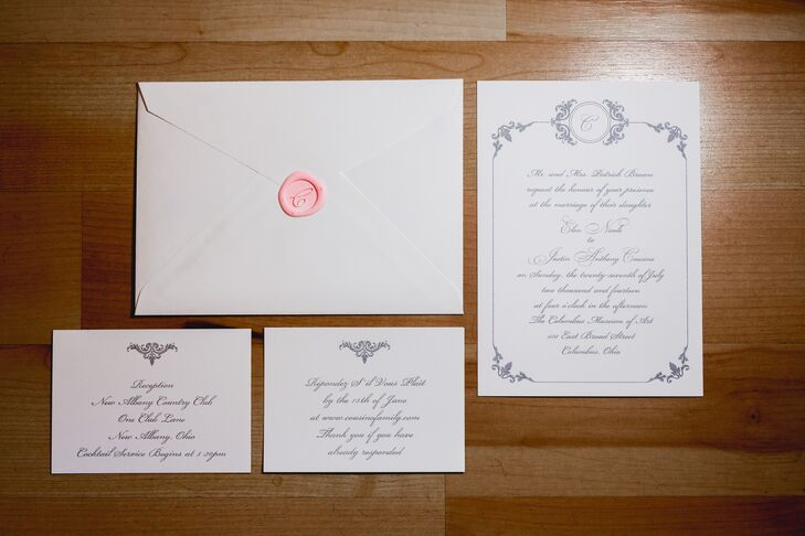 "The wedding invitations were printed on white stationery with gray lettering, sealed in a white envelope with a pink personalized wax stamp. ""We wanted our invitations to evoke an old-world classic look with embossed gray script lettering that included a personalized wax seal with our last name initial to enclose the main invitation,"" the couple says."