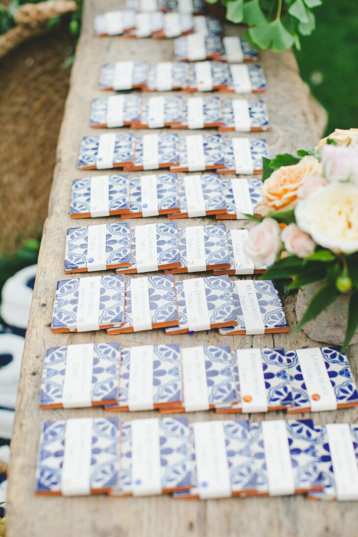 Custom-painted blue and white Mexican tiles were used as escort cards (and doubled as favors).