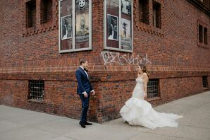 Modern Couple with Navy Suit and Mermaid Wedding Dress