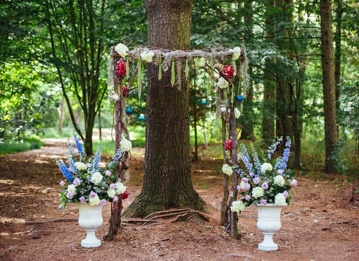 Rose-Decorated Branch Ceremony Arch