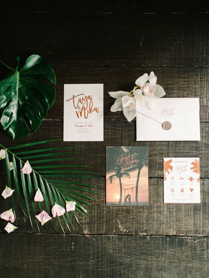 Tropical, Modern Invitations and Paper Goods with Calligraphy