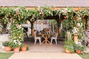 Garden-Rose-Draped Reception Space