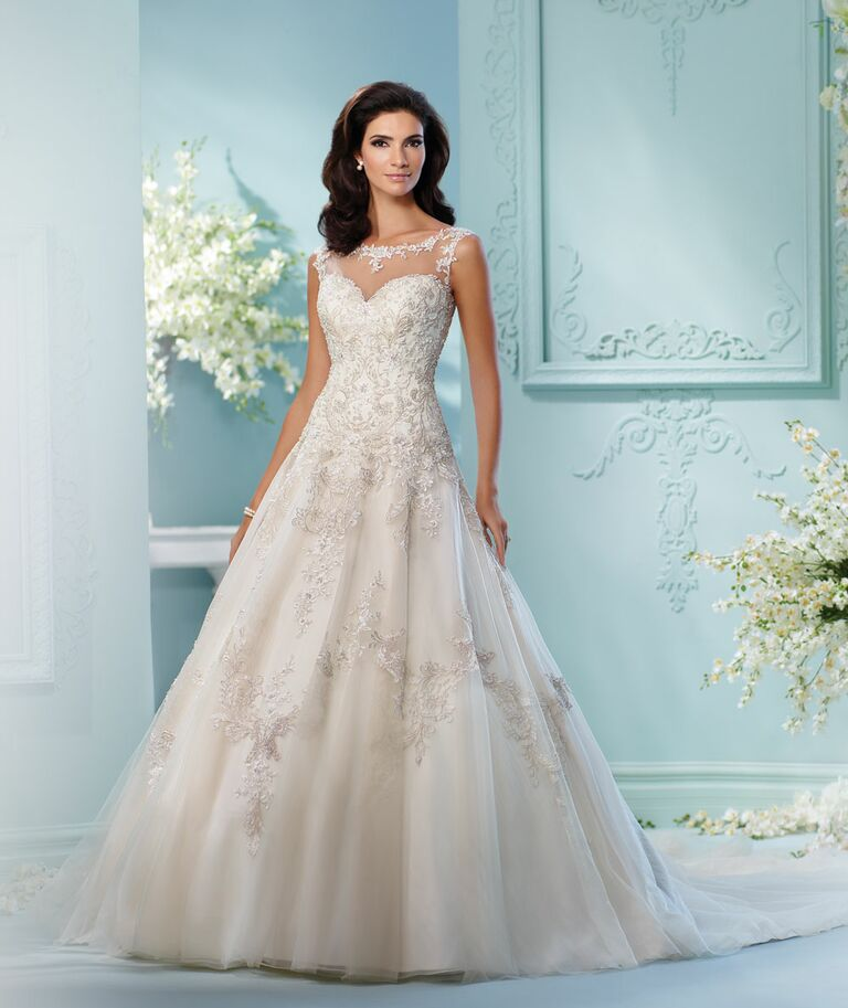 David Tutera Spring 2017 Illusion Weetheart Lace And Beaded A Line Wedding  Dress With High