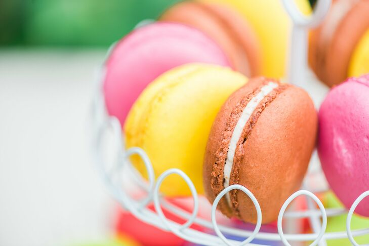 Colorful macaroons were offered to guests as a sweet treat.