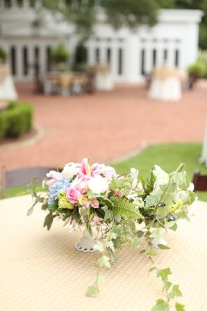 Understated Pastel Urn Flower Centerpieces