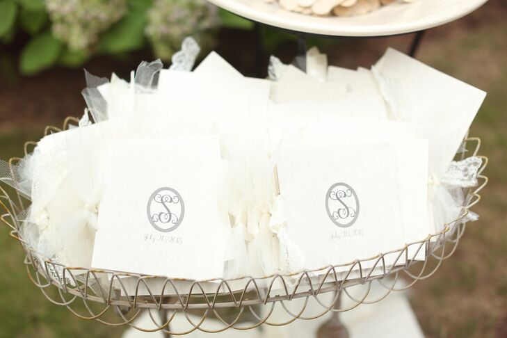 Simple Black Monogrammed Favor Bags