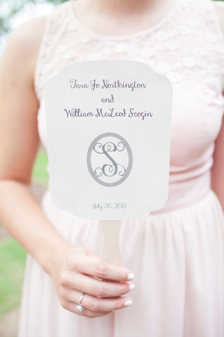 Simple Monogrammed Ceremony Program Fan