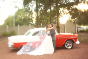 Tara and Will's Vintage Red Getaway Car
