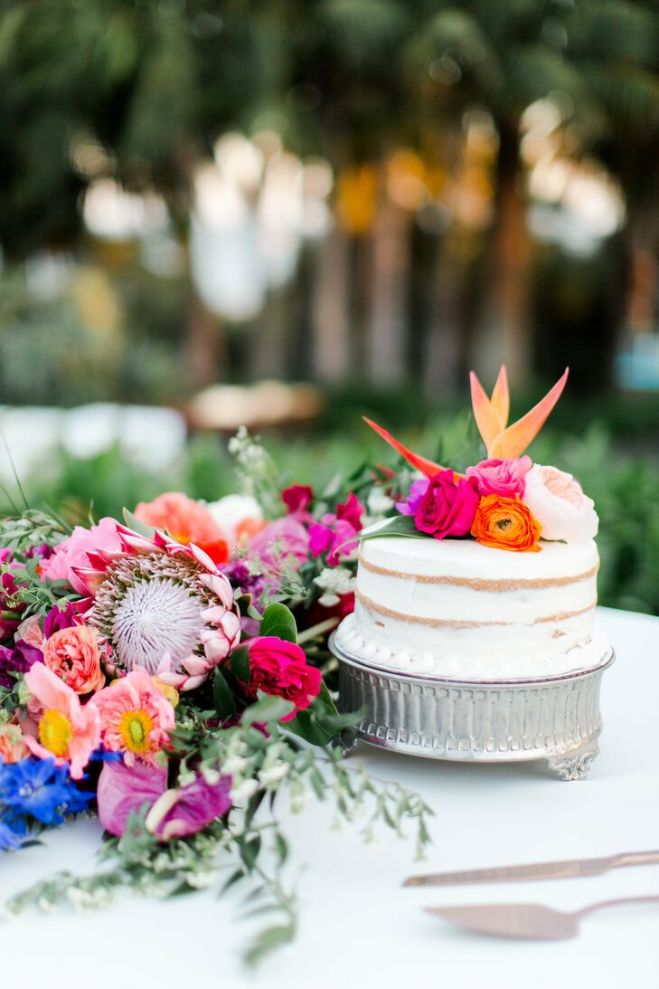 Single-Tier Naked Cake with Bright Tropical Flowers