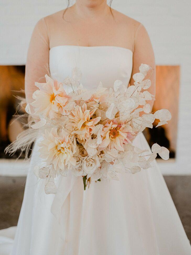 Romantic, Whimsical Bouquet with Cafe Au Lait Dahlias, White Lunaria and Soft Grasses