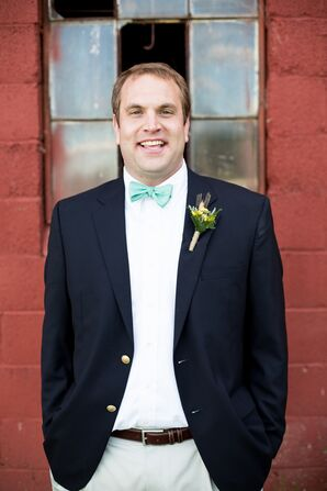 Navy Wedding Blazer and Green Bow Tie