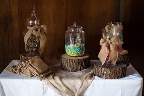 Candy Bar With Burlap Goodie Bags
