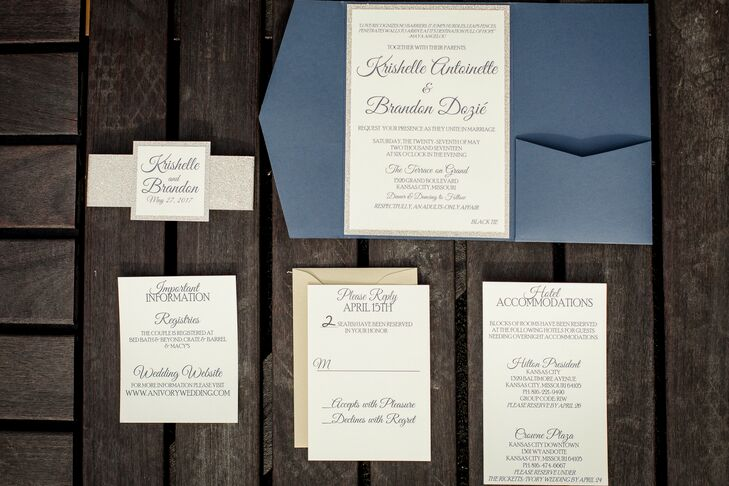 Classic Invitation for Wedding at Terrace on Grand in Kansas City, Missouri