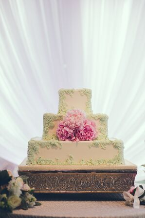 Spring Garden-Themed Square Wedding Cake