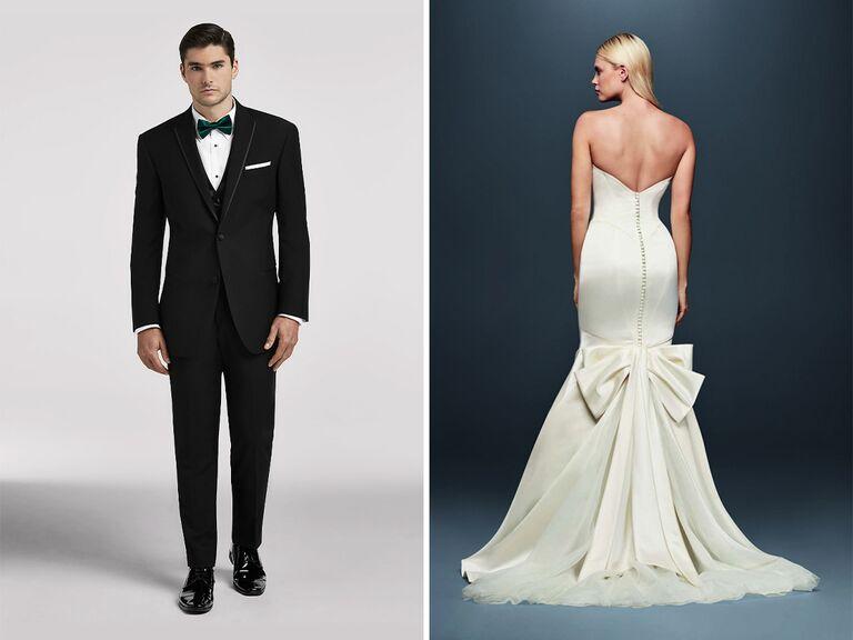 sleek wedding dress and tuxedo