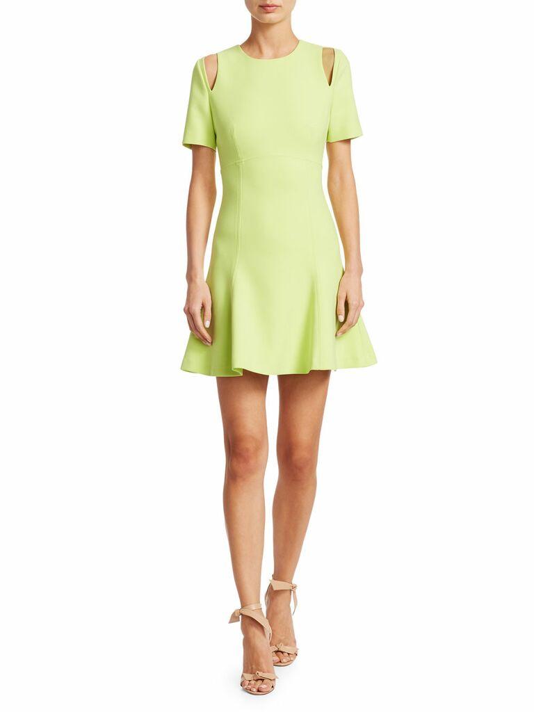 Green short spring wedding guest dress