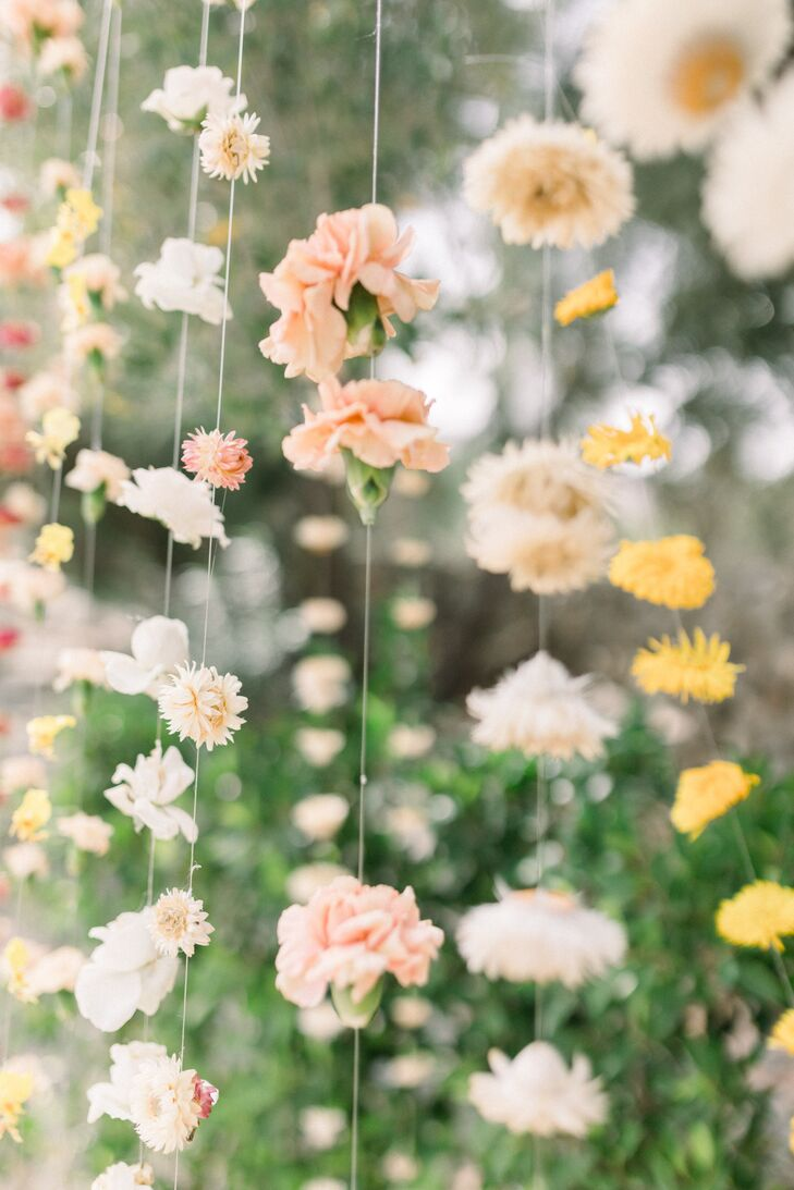 Romantic Hanging Carnations and Wildflowers