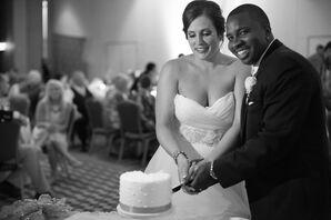 One-Tier Swiss-Dot Wedding Cake