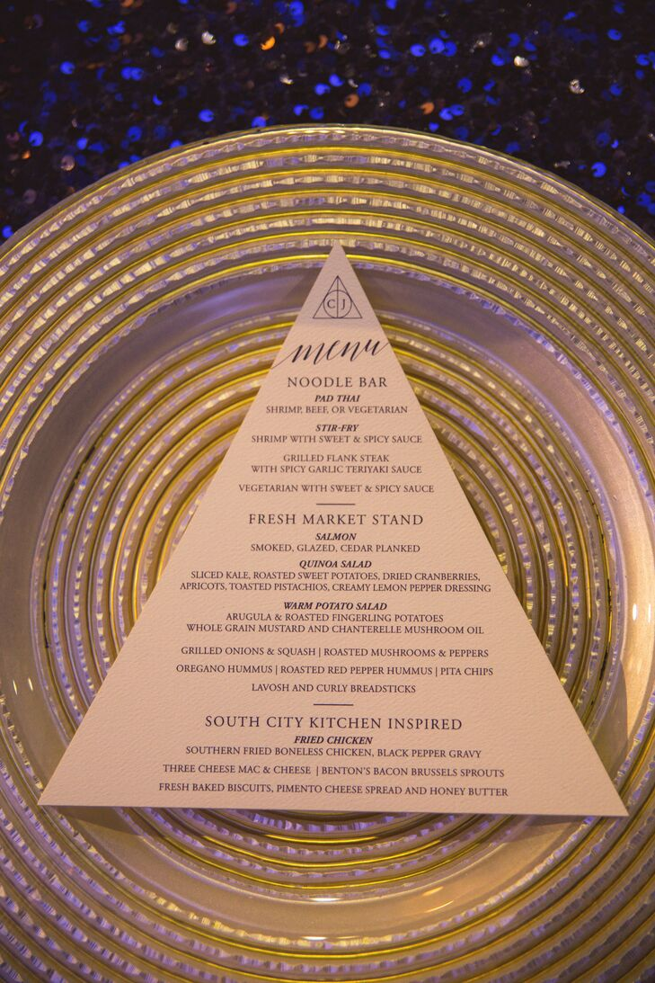 Triangle Shaped Menus on Gold Plate