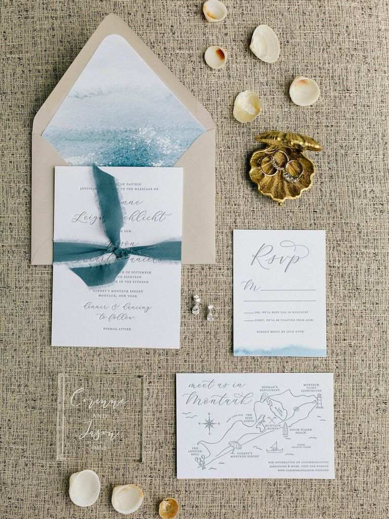 Chic beach-themed blue and gold invitation suite for summer wedding