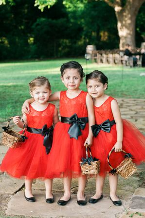 Red Flower-Girl Dresses With Black Sash