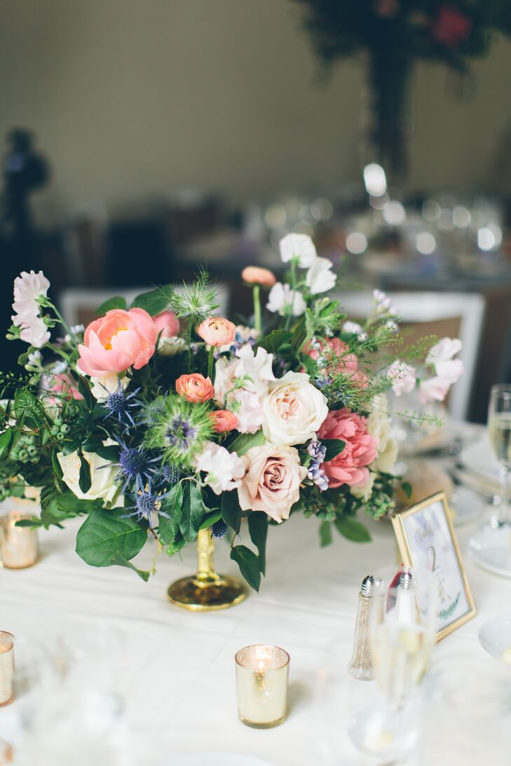 Low Peony, Rose and Thistle Centerpieces