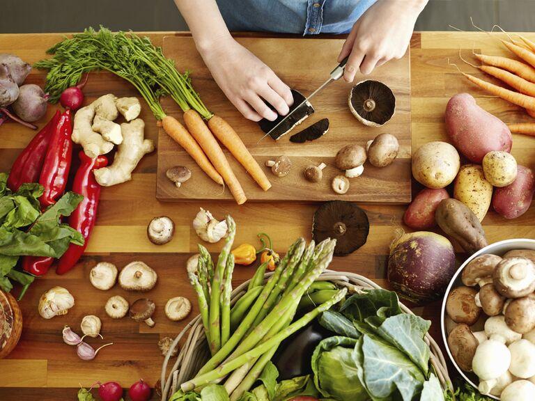 Woman cutting health food