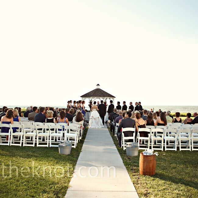 The ceremony took place in front of a small gazebo overlooking the lake.
