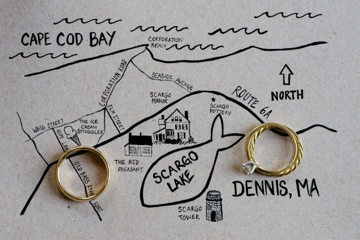 The couple's custom-designed wedding invitations featured a playful illustrated map to help guests navigate to the waterfront wedding.