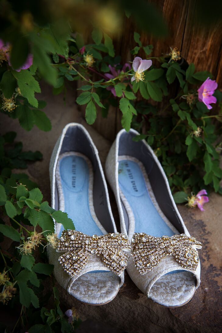 Glamorous Silver Crystal Bow Wedding Shoes