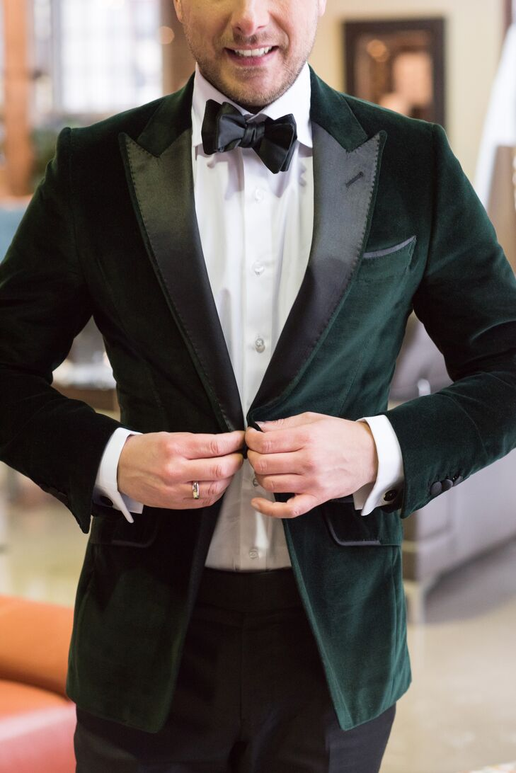 After seeing and falling in love with a Dolce & Gabbana forest green blazer, Mike fell heartbroken when the special order wouldn't be ready in time. Not one to change his look, he sought out a local tailor to design and produce a similar jacket in an emerald green velvet.