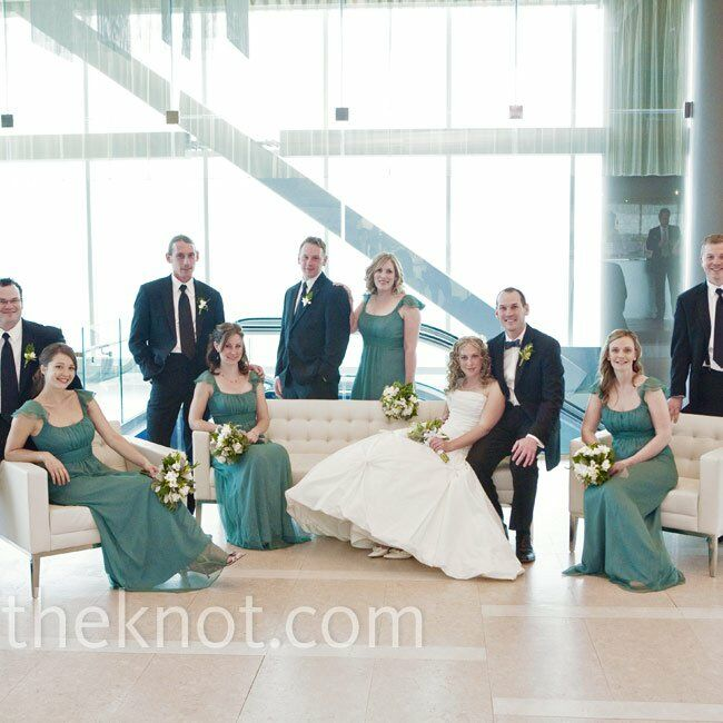 With the Atlantic right outside, Shey couldn't have picked a better bridesmaid dress color. The guys kept it classic in dark suits.