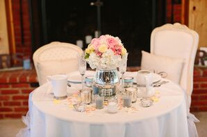 Sweetheart Table with Silver Urn and Pastel Flowers