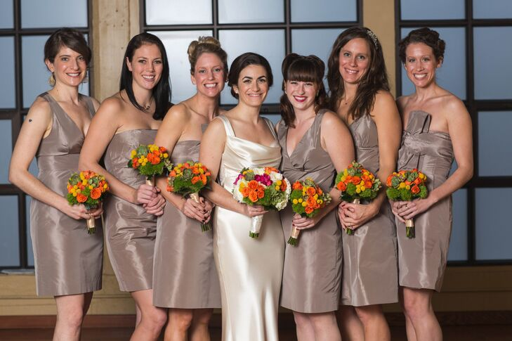 The bridesmaids picked their own taupe dresses from J.Crew. The bride wanted the dresses to match in color, but it was also important that her bridesmaids felt comfortable and got  to show some personality.