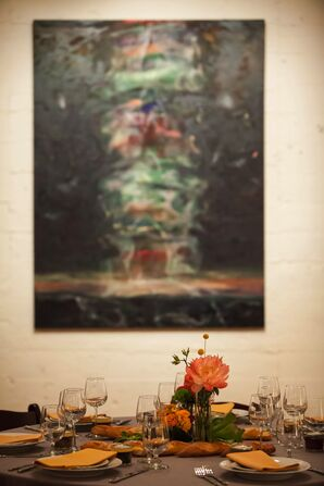Modern Art Backdrop at Reception