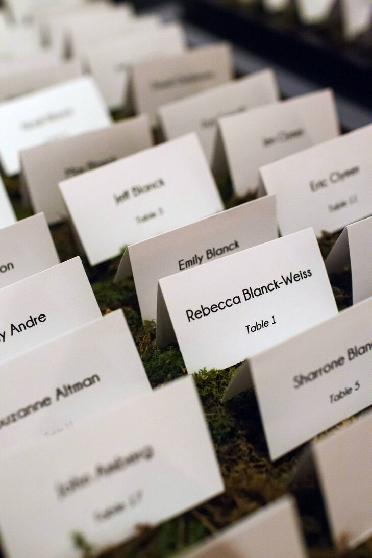 Table Seating Cards on Decorative Moss