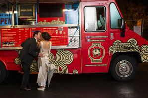 Bride and Groom Order at Food Truck