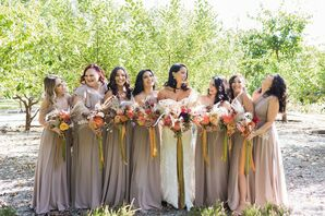 Bohemian Bridesmaids with Dusty-Pink Dresses and Bouquets