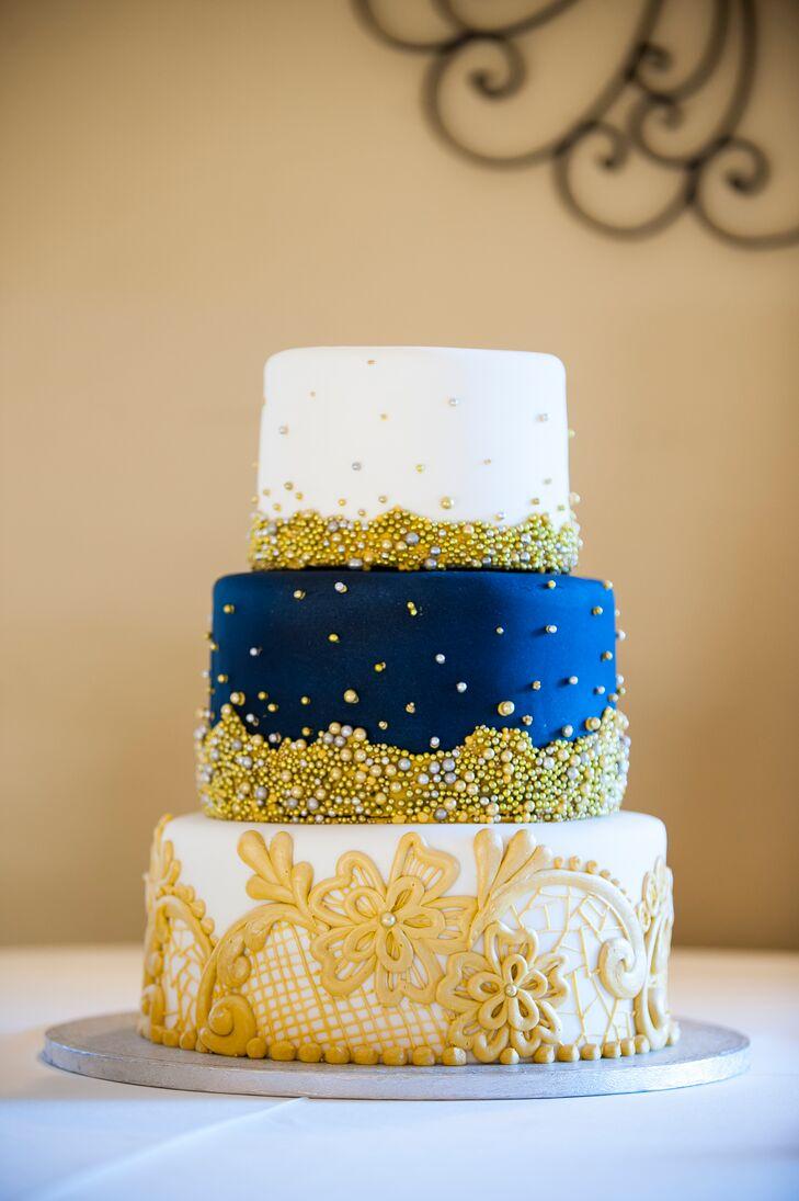 Three Tier Navy And Gold Wedding Cake