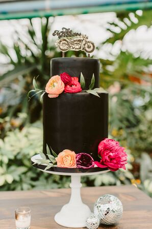 Black Two-Tier Wedding Cake with Motorcycle Cake Topper