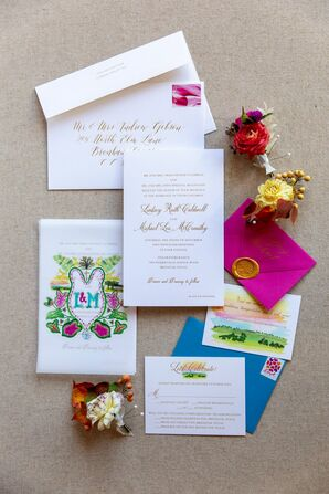 Preppy, Whimsical, Colorful Invitations with Calligraphy and Monogram