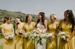 Yellow Bridesmaid Dresses and Wildflower Bouquets