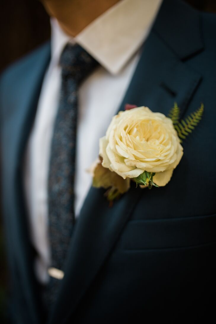 Ivory Rose and Fern Boutonniere with Leaf Accents