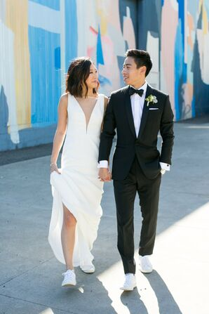 Elegant Couple with Modern Wedding Fashion and White Sneakers