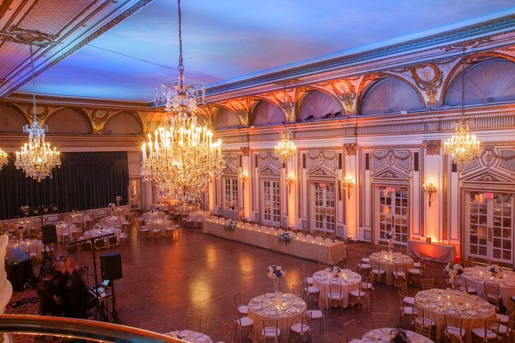 """The couple held their reception at the regal Fairmont Copley Plaza in downtown Boston, Massachusetts. """"It's the definition of timeless elegance,"""" Stephanie says. """"When we visited, we immediately knew we had found the right place."""""""