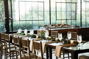 Simple Reception Decor With Farm Tables and Chiavari Chairs